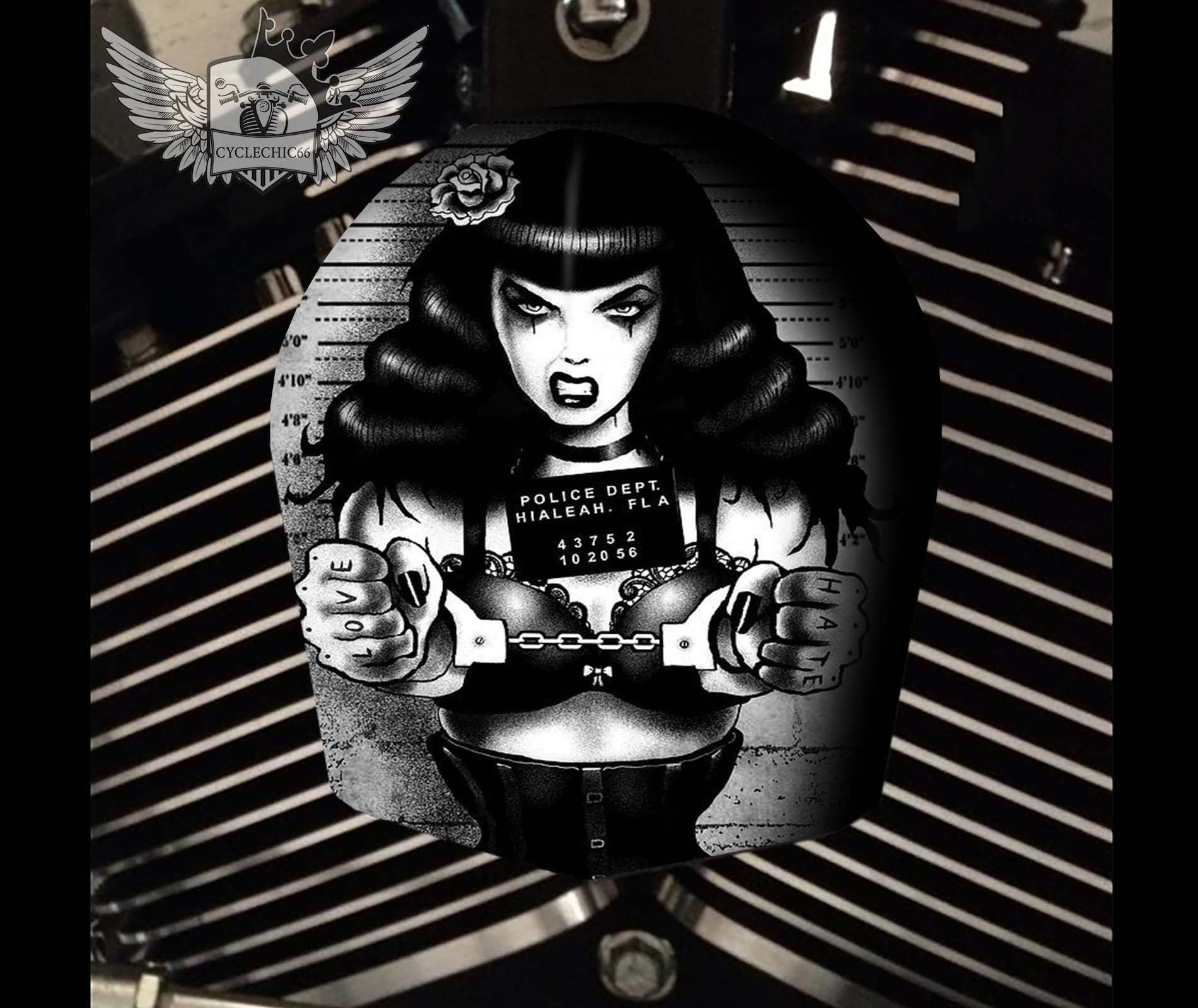 Harley Davidson Horn Cover - Betty Page Prison