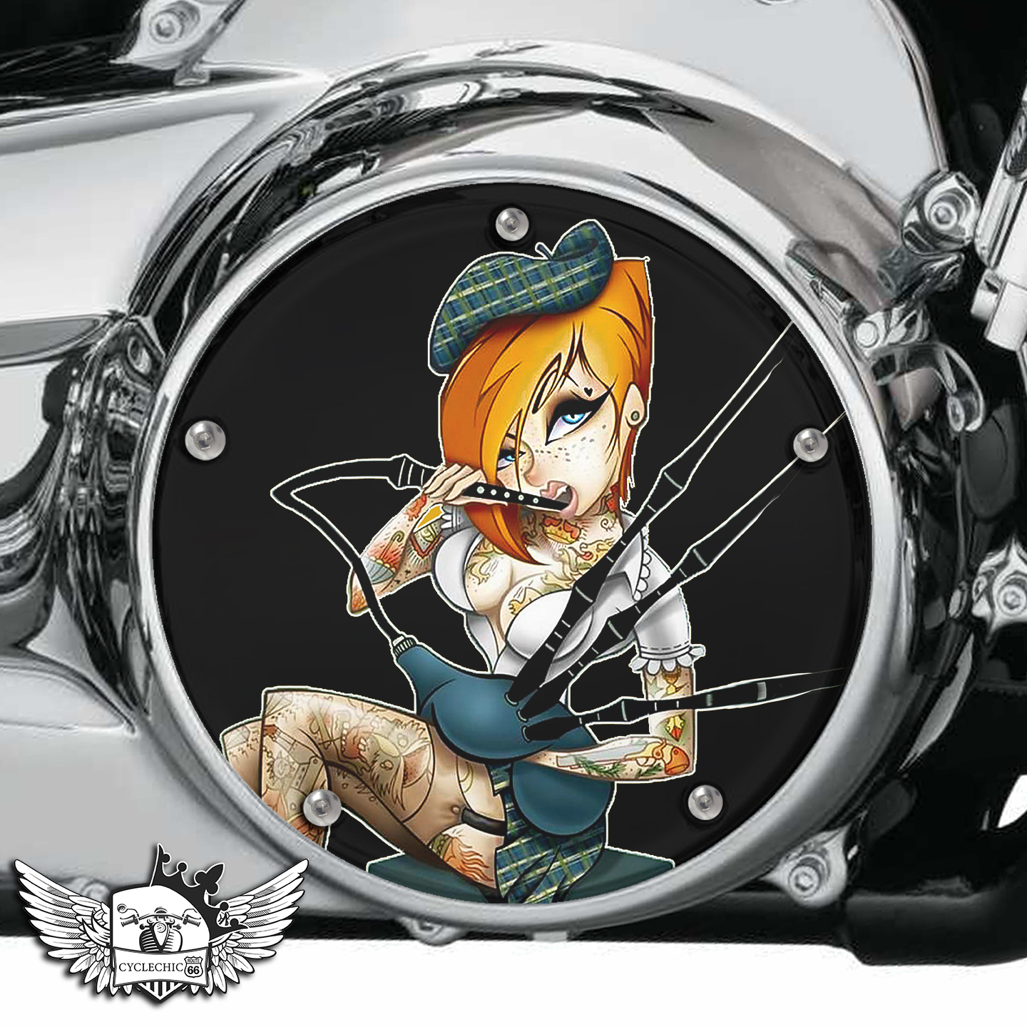 Harley Davidson Derby/Clutch Cover - Bagpipe, Pin-up