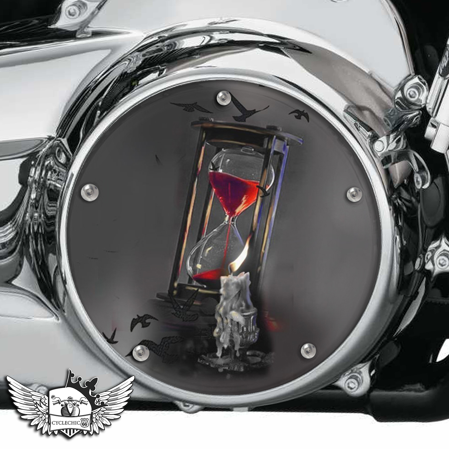 Harley Davidson Derby/Clutch Cover - Blood hourglass, time