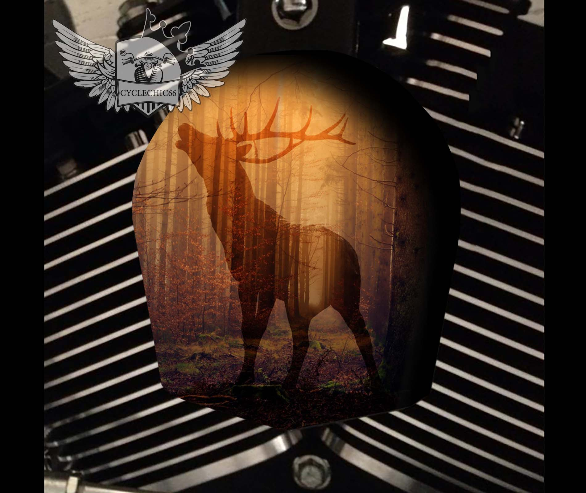 Harley Davidson Horn Cover - Deer in Forest