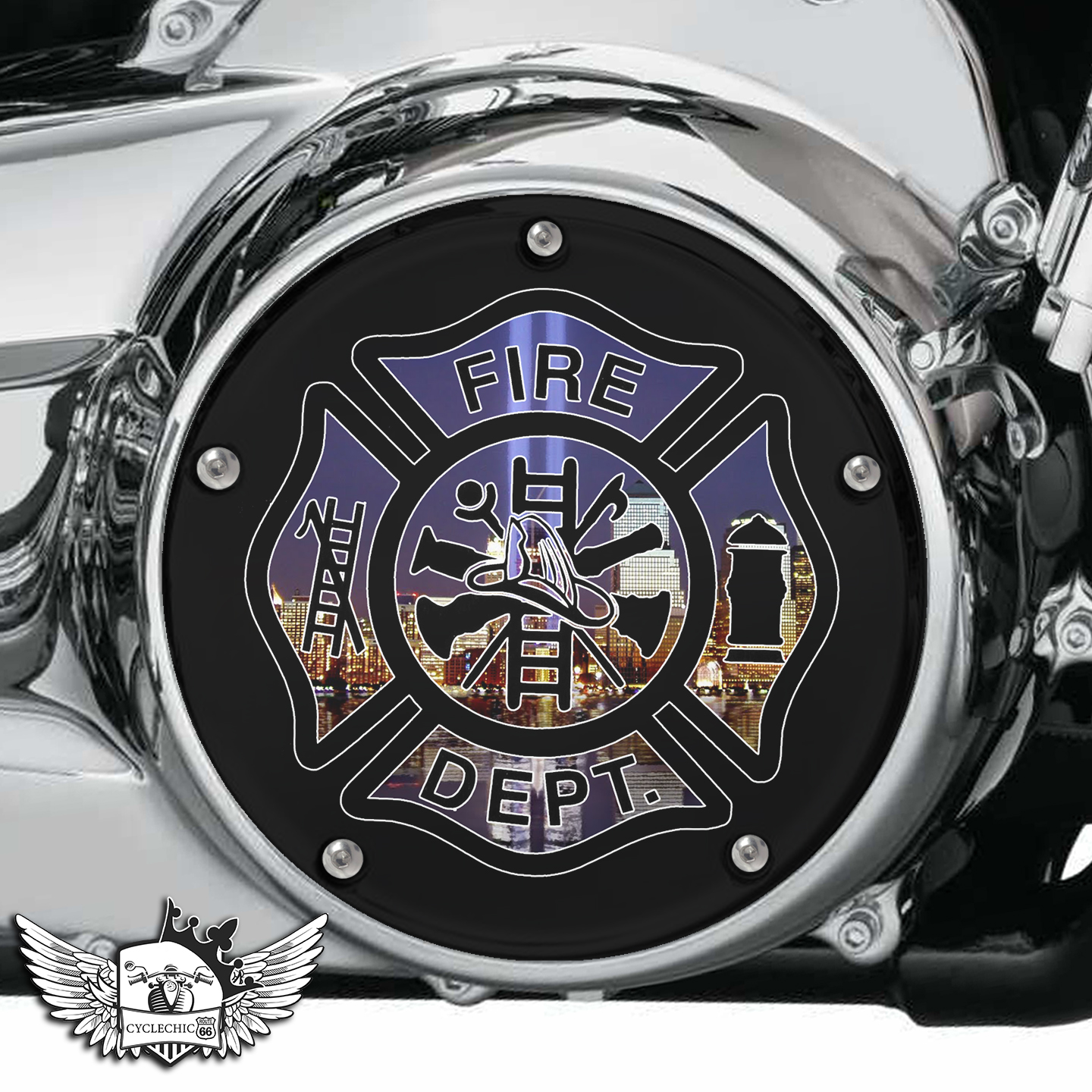 Harley Davidson Derby/Clutch Cover - Fire Rescue- 9-11 Memorial