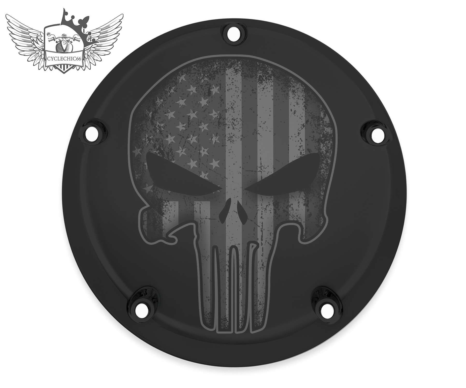 Harley Davidson Derby/Clutch Cover - Punisher, BLK and WHT