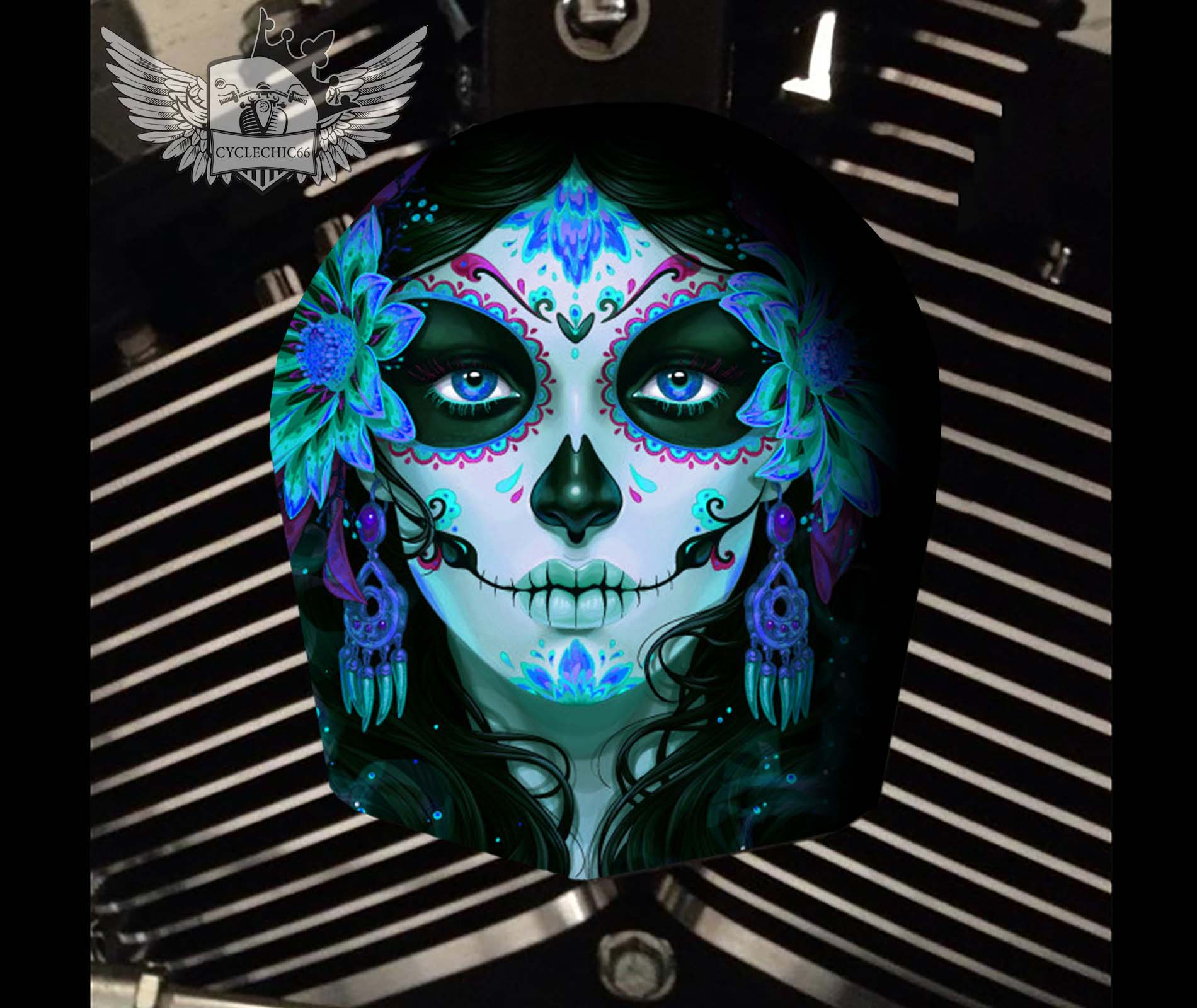 Harley Davidson Horn Cover - Candy Sugar Skull Blue Peony