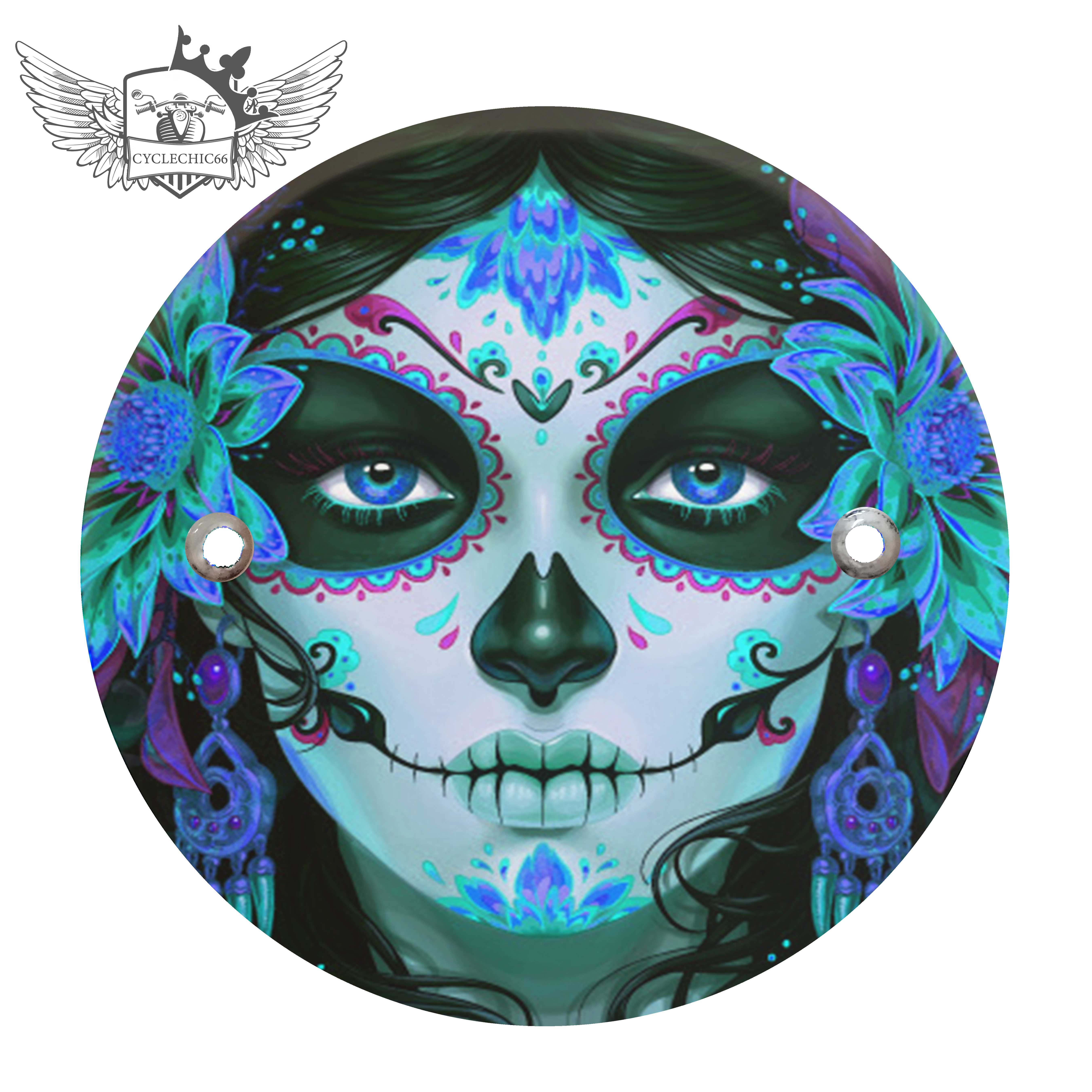 Victory Derby Cover - Candy Sugar Skull Blue Peony