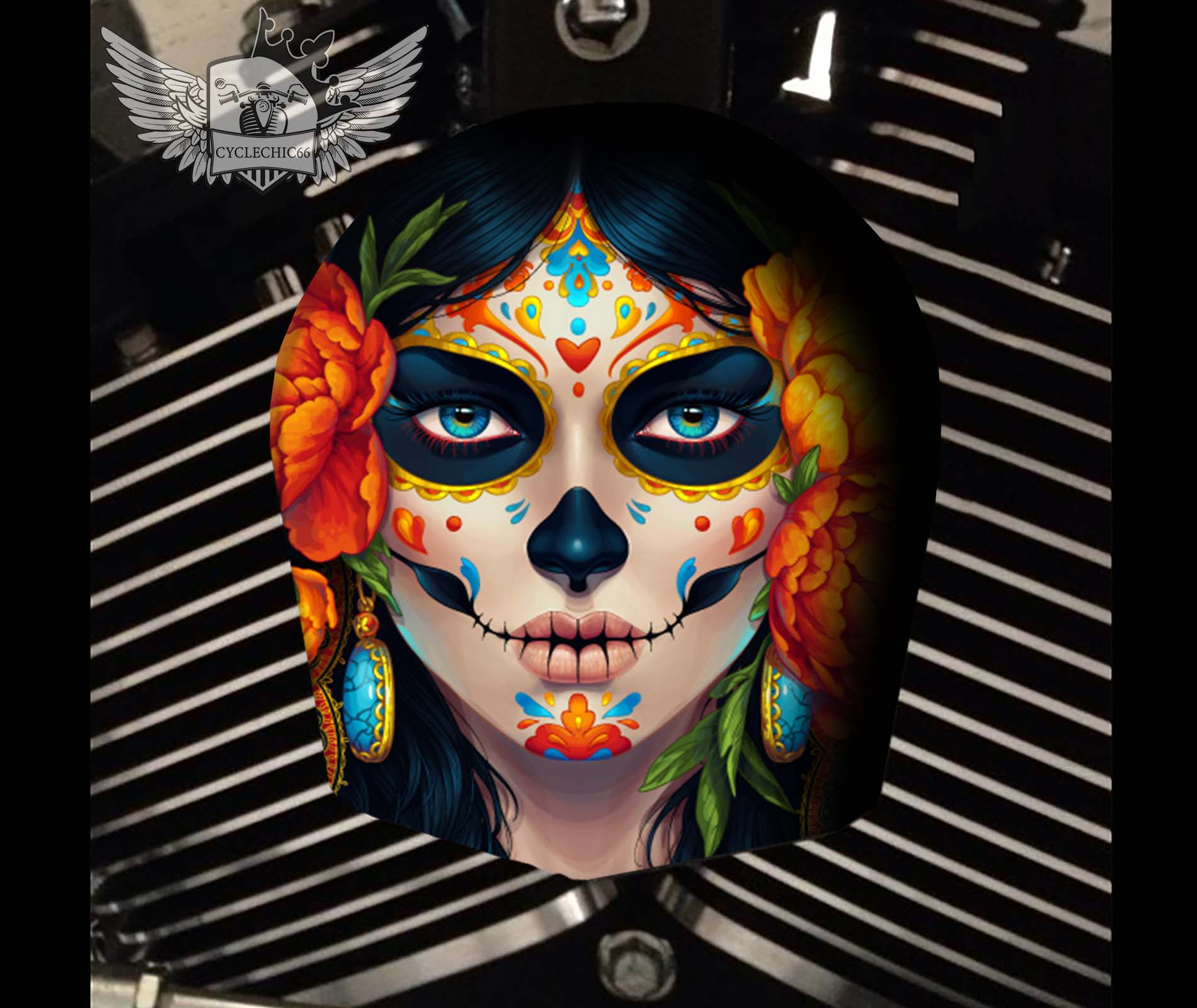 Harley Davidson Horn Cover - Candy/Sugar Skull Peony