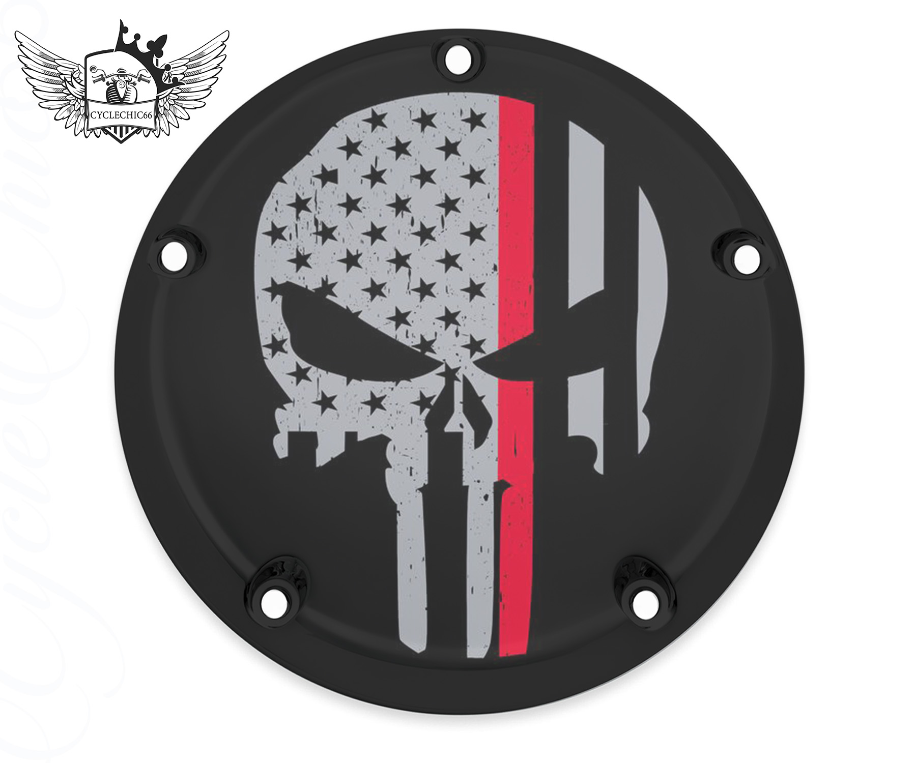 Harley Davidson Derby/Clutch Cover - Punisher - Thin Red Line