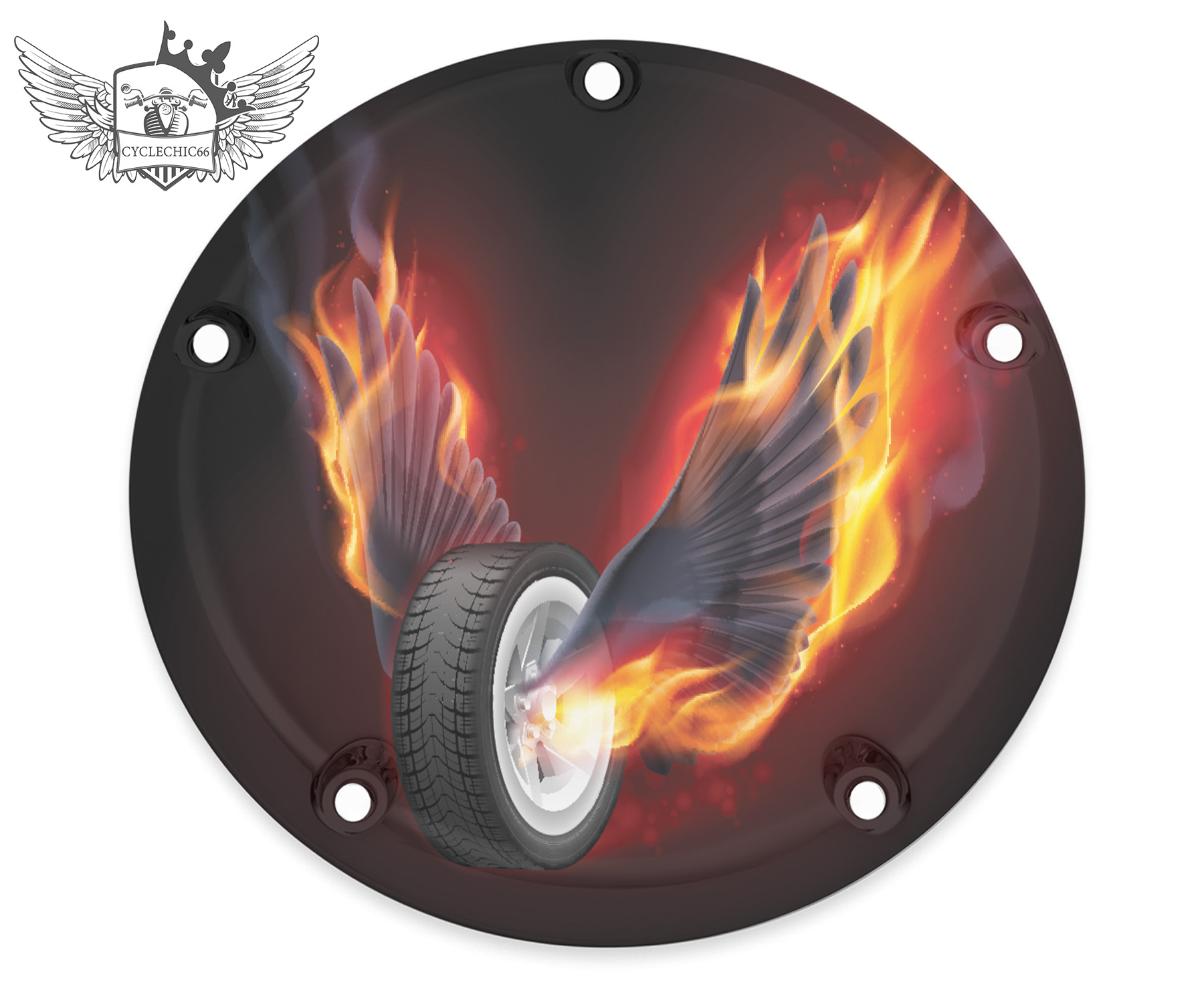 Harley Davidson Derby/Clutch Cover - Wheel with Flame Wings