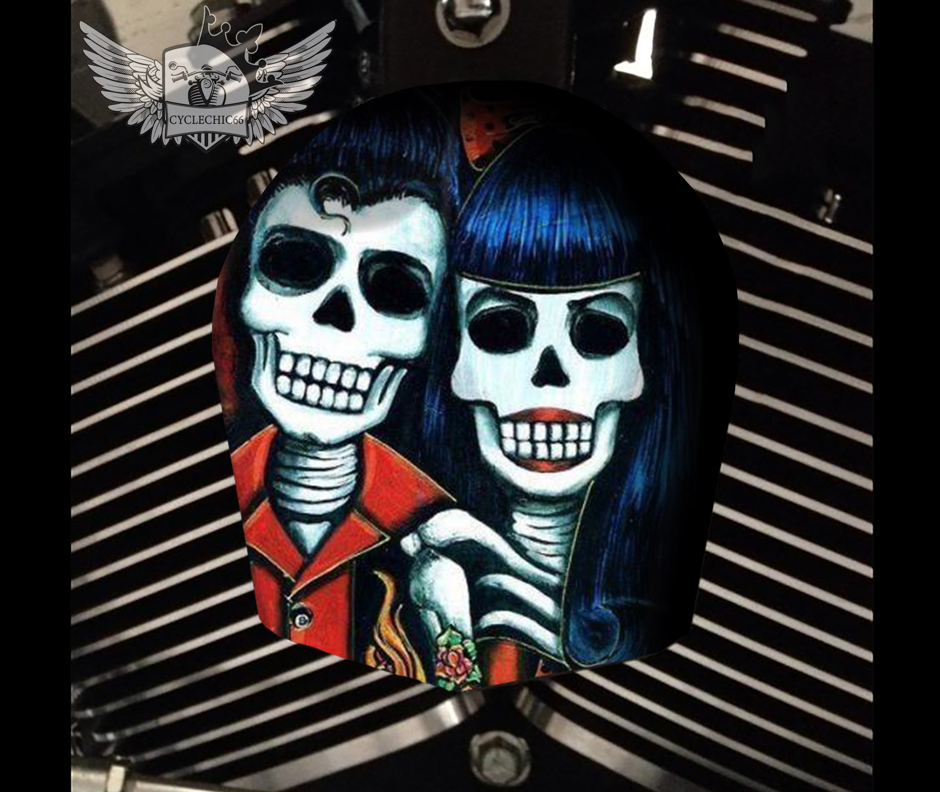 Harley Davidson Horn Cover - Day of Dead Couple